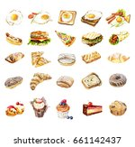 fast food bakery watercolor | Shutterstock . vector #661142437