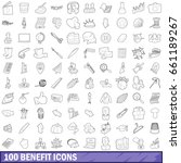 100 benefit icons set in... | Shutterstock .eps vector #661189267