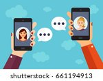 two persons chat by mobile...   Shutterstock .eps vector #661194913
