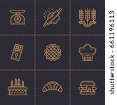 vector set of linear icons ... | Shutterstock .eps vector #661196113