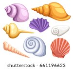 colorful tropical shells... | Shutterstock . vector #661196623