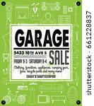 garage or yard sale with signs  ... | Shutterstock .eps vector #661228837