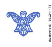 christmas angel with pattern.... | Shutterstock .eps vector #661244473
