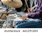 hands of musician while playing ... | Shutterstock . vector #661291303