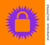lock icon. violet spiny circle...