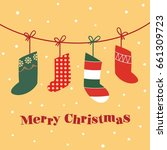 christmas socks vector | Shutterstock .eps vector #661309723