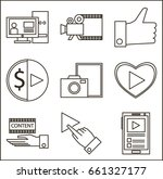 set of blog icons outline style | Shutterstock .eps vector #661327177