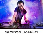 dj playing disco house... | Shutterstock . vector #66133054