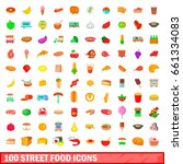 100 street food icons set in... | Shutterstock .eps vector #661334083
