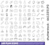 100 plan icons set in outline... | Shutterstock .eps vector #661335193