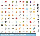 100 healthy lifestyle icons set ... | Shutterstock .eps vector #661335877