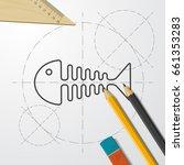 vector blueprint fishbone icon... | Shutterstock .eps vector #661353283