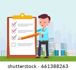 businessman is holding pencil... | Shutterstock .eps vector #661388263