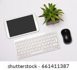 desk with office items | Shutterstock . vector #661411387