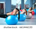 group of people in a pilates... | Shutterstock . vector #661446133