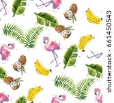 seamless pattern with tropical... | Shutterstock .eps vector #661450543