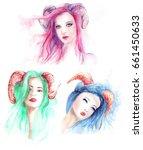 beautiful woman with long hair...   Shutterstock . vector #661450633