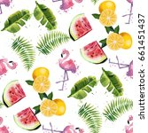 seamless pattern with tropical... | Shutterstock .eps vector #661451437