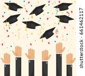 graduate caps and confetti | Shutterstock .eps vector #661462117