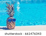 funny pineapple in sunglasses... | Shutterstock . vector #661476343