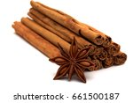 Pile Of Cinnamon Sticks With...