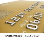 Realistic close-up illustration of a gold credit card with fictional details. - stock photo