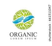 organic logo. leafs in hand... | Shutterstock .eps vector #661511047