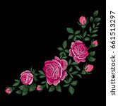 roses embroidery with leaves ... | Shutterstock .eps vector #661513297
