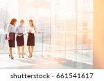 full length of businesswomen... | Shutterstock . vector #661541617