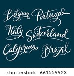 California, Brazil and other place names in hand written typography. Good use for logotype, symbol, cover label, product, brand, poster title.