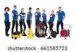 smiling multiracial janitors