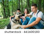 Stock photo adventure travel tourism hike and people concept group of smiling friends walking with 661600183