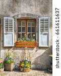 rustic window with old wood... | Shutterstock . vector #661611637