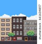 pixel art street with buildings ... | Shutterstock .eps vector #661634857