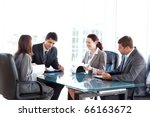 four business people during a... | Shutterstock . vector #66163672