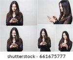 adorable asian woman is enjoy... | Shutterstock . vector #661675777