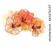 a bouquet of tropical hibiscus... | Shutterstock .eps vector #661676137