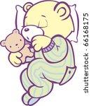 Stock vector sleeping teddy bear in striped pajamas full color 66168175