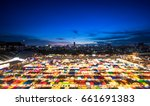 colorful train night market in... | Shutterstock . vector #661691383