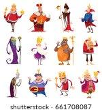 vector set of twelve cartoon... | Shutterstock .eps vector #661708087