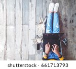 hipster lifestyle and creative... | Shutterstock . vector #661713793