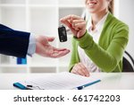 car rent or sale. rental agent... | Shutterstock . vector #661742203