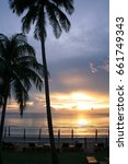 silhouette beach front with...   Shutterstock . vector #661749343