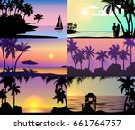 summer night time sunset... | Shutterstock .eps vector #661764757