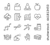 wellness life line icon set.... | Shutterstock .eps vector #661813453