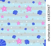 seamless pattern with sea... | Shutterstock .eps vector #661820467