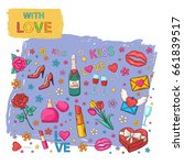 with love icons set hand draw... | Shutterstock . vector #661839517