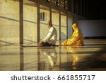 a couple of moslem family...   Shutterstock . vector #661855717