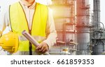 engineering man standing with... | Shutterstock . vector #661859353