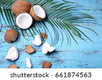 coconuts with leafs on blue...   Shutterstock . vector #661874563